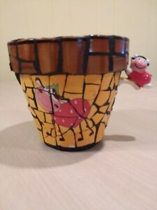 Mosaic Flower Pot With 2 Whimsical Cows / Direct From Artist