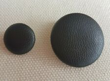 BLACK LEATHER ROUND BUTTONS – SHANK, 15, 25MM, 32MM, RETRO, VINTAGE, CHIC UK