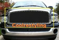 FOR 02 03 04 05 Dodge Ram Black Wire Mesh Rivet Stud Grille Grill Insert