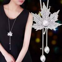 Fashion Charm Crystal Pearls Leaf Pendant Necklace Sweater Chain Chain Jewelry
