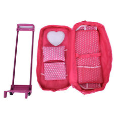 Pink 18 inch Doll Travel Carrier Trolley Case with Foldable Bed and Accessories