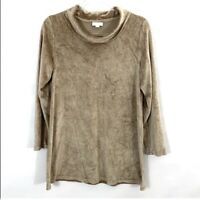J Jill Women's Pure Jill Tan Velour Cowl Neck Tunic Top 3/4 Sleeve Size Small