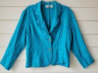 Chico's Women's Jacket Blazer Silk Long Sleeve Size 2 Embroidered Turquoise