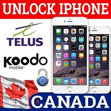 UNLOCK IPHONE 3GS 4 4S 5 5S 5C 6 6+ 6S 6S+ TELUS KOODO CANADA CLEAN IMEI ONLY