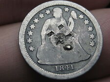 New Listing1841 Seated Liberty Dime- Counterstamped, Unfinished Love Token?