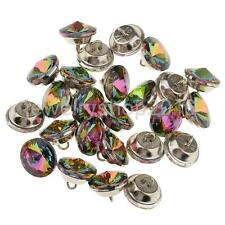 25 Colorful Crystal Upholstery Buttons With Metal Loop For Sofa Decor 18mm