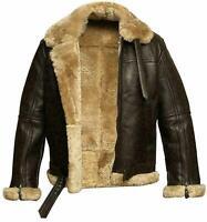 Aviator RAF B3 Flying Bomber Fur Shearling Sheepskin Leather Jacket For Mens