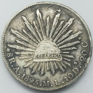 Mexico 1895 8 Reales As ML Alamos Mint Large Silver Coin Scarce