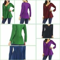 Solid Tops Long Sleeve Pullover Loose Casual Jumper Womens T-Shirt V Neck