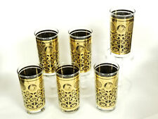 6x 60's PRUDENTIAL INSURANCE LIBBEY BLACK GOLD HIGH BALL TUMBLERS GLASSES ~5.5""
