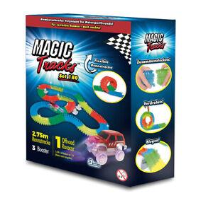 Magic Tracks Ergänzung 180 | Autorennbahn f. Kinder ab 3 J. | Rennbahn leuchtend