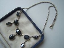 """GORGEOUS VINTAGE SOLID STERLING SILVER HEMATITE PENDANT 16 1/2"""" NECKLACE UNUSUAL"""