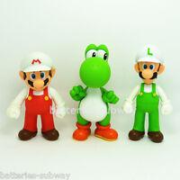 "3 pcs New Super Mario Bros Brothers Mario Luigi Yoshi Toy Action Figures 5"" 13cm"