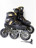 Epic Engage Black & Gold Indoor Outdoor 125mm 3-Wheel Inline Speed Skates Size 9