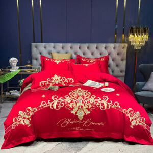 Silky cotton bedding set 4pcs Italian vintage quilt cover flat sheet pillowcases