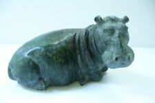 VERDITE HAND CARVED HIPPO - AUTHENTIC AFRICAN TRIBAL ART - SIGNED