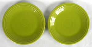 "2 Homer Laughlin ""Fiesta"" Salad Plates 7 1/4"", Lemongrass (Bright Green) China"