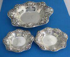 Art Nouveau Gorham (3) Three piece Sterling Floral Candy Dish Set C. 1900
