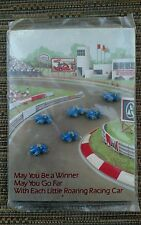 Vintage Avon Greeting card Roaring Race Car Buttons cars May you be the winner