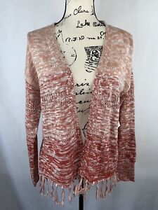 OVLA Women's SIZE MEDIUM Open Cardigan Sweater long Sleeves Rust Ivory New