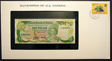 Belize $1 - 1983 Uncirculated Banknote enclosed in stamped envelope.