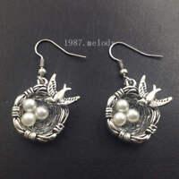 Bird nest earrings,Silver handmade ear stud,Fashion charm jewelry pendants,Gift