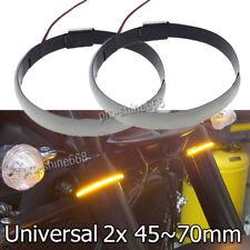 2X LED Turn Signal Bike Blinker Fit Motorcycle DRL Light Strips Amber 45mm-70mm