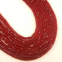 "5 Strands AAA Red Garnet Hydro Gemstone Faceted Approx 3-3.5mm Beads 13"" Long"