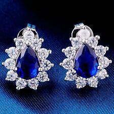 Elegant Teardrop Round Cubic Zircon White Gold Plated Lady Jewelry Stud Earrings