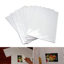 10x T-Shirt Print Iron-On Heat Transfer Paper Sheets For Dark/Light Fabric Cloth