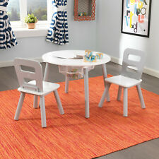 Kidkraft Gray Round Storage table and Chair Set | Kids Wooden Play Table Chairs