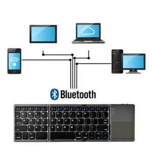 Foldable Wireless Bluetooth Keyboard For Phone &Tablets Rechargeable Keypad Slim