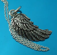 925 Sterling Silver Angel Wing Feathers Pendant Charm Chain Necklace with Box