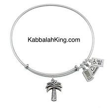 Wind & Fire 3D Palm Tree Charm Silver Wire Stackable Bangle Bracelet Made In USA