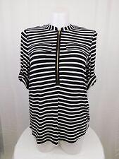 Calvin Klein Plus Size 3/4 Roll Sleeve Stripe Print Top 0X Black, White #4680
