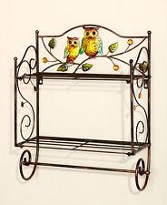 Bronze Whimsical Owl Friend Wall Shelf 2 Wires Perched Owls Birds Bath Shelf