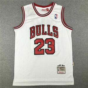 Retro 1998 Michael Jordan #23 Chicage Bulls basketball Trikots Stitched Weiß