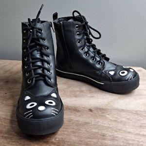 TUK Black Kitty Sneaker Boots US 8 EU 39 Black Side Zip Vegan Combat Cat