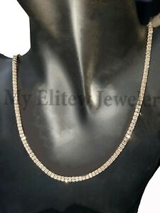 Real Gold Men's Tennis Chain Chain 10 k Rose Geld Necklace 30 Inches Diamond Cut
