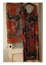 Vestito abito lungo elegante donna + stola MARCELLO CIONI 100% vis marron ALINIA