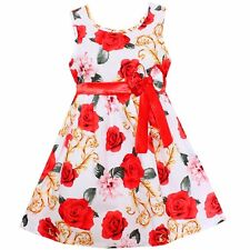 Girls Dress White Floral Bow Party Princess Wedding Children Clothes SZ 4-14