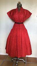 VINTAGE 1940's 50's MODE O DAY LIPSTICK RED TAFFETA FULL SKIRT PARTY DRESS M