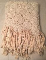 Vtg Handmade Crochet Coverlet Ivory Twin Full Bedspread Throw Hand-Tied Fringe