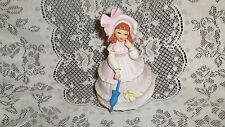 """Vtg Adorable Ceramic Southern Belle in Pink Music Box """"Love Story Theme"""" Spins"""