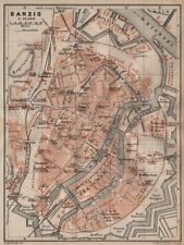 GDANSK antique town city plan miasta. Gda?sk Danzig. Poland mapa 1904 old