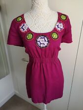 Boden Size 18 Cerise Pink Linen Tunic Top Detailed Neckline