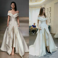 Jumpsuit Formal Evening Pageant Party Dresses Prom Gowns Off Shoulder Satin 2019
