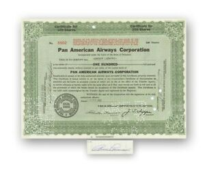 Pan American Airways Stock Certificate Issued to and Signed by Grover Loening