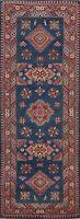 Vegetable Dye Super Kazak Geometric Hand-knotted Oriental Runner Rug Wool 3x8