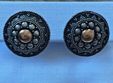 Sterling Silver Brass Bali Concho Earrings Native American Jewelry 17.7mm wide
